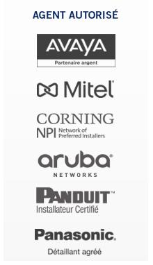 Agent autorisé produits Avaya, Mitel, Panduit, Corning et Aruba