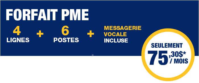 Forfait PME : appareil téléphonique, ligne affaires, poste et messagerie