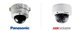 caméras de surveillance, dome anti-vandales de marques Panasonic et Hikvision