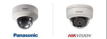 caméras de surveillance, dome fixe de marques Panasonic et Hikvision