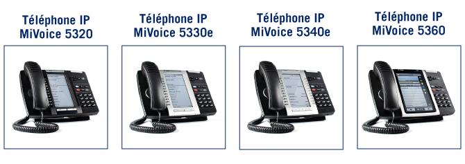 Téléphones Mitel pour la téléphonie cloud : Mivoice 5320, 5330e, 5340e, 5360